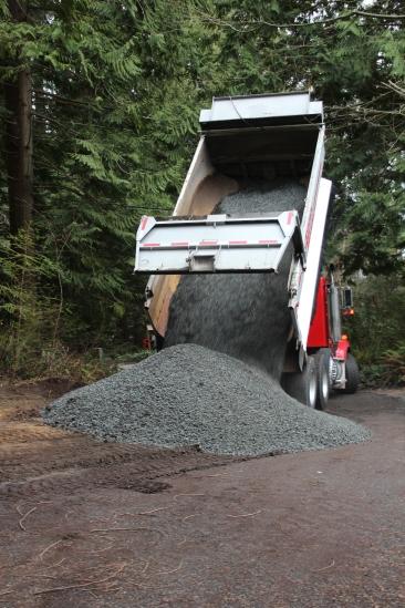 unloading gravel